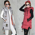 Long Women Vest 2016 New Autumn Winter Fashion Cotton Hooded Outwear Female Vest Plus Size Casual Hooded Slim Jacket ZY1751