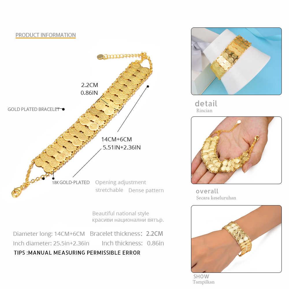 WANDO monety bransoletka dla kobiet Islam muzułmańskie emiraty moneta pieniądze znak złoty kolor bliskiego wschodu bransoletka metalowe monety prezent wb155