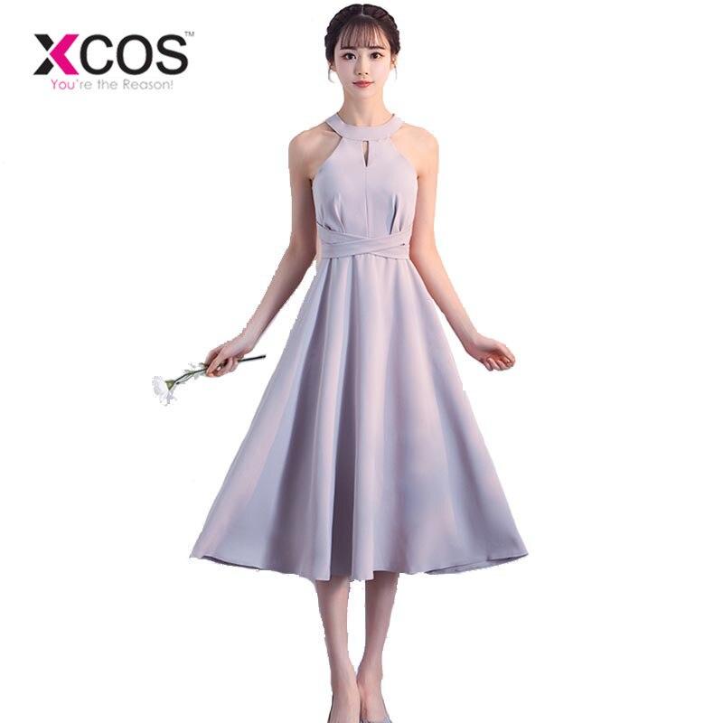 XCOS Simple Chiffon Dress for Wedding Party Alibaba Online Shopping Short Tea Length Bridesmaid Dresses Bow 2018 Free Shipping