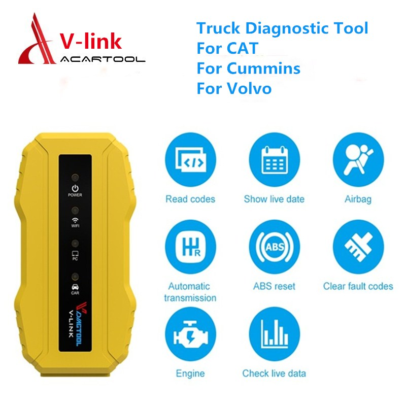 New Truck Diagnostic Tool Vdiagtool V link for CAT3 Cummins Volvo All Installers Wifi USB Diesel