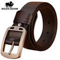 BISON DENIM Italian 100% top Cow Leather Belts Alloy Buckle  genuine leather vintage pin buckle ceinture mens belts N70781
