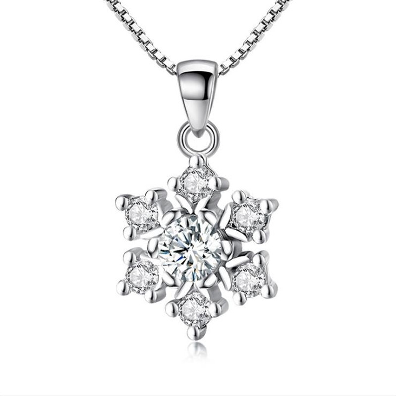 TJP Classic Crystal Snowflake Female Pendants Necklace Jewelry Charm Silver 925 Girl Choker Lady Party Accessories Hot