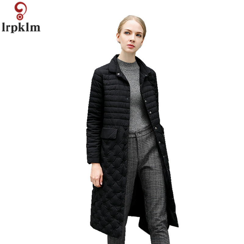 Down     Coat   Women Long Over Knee Jackets 2018 Winter Light   Down   Over   Coats   For Female Elegant Korean White Duck   Down   Clothes CH579