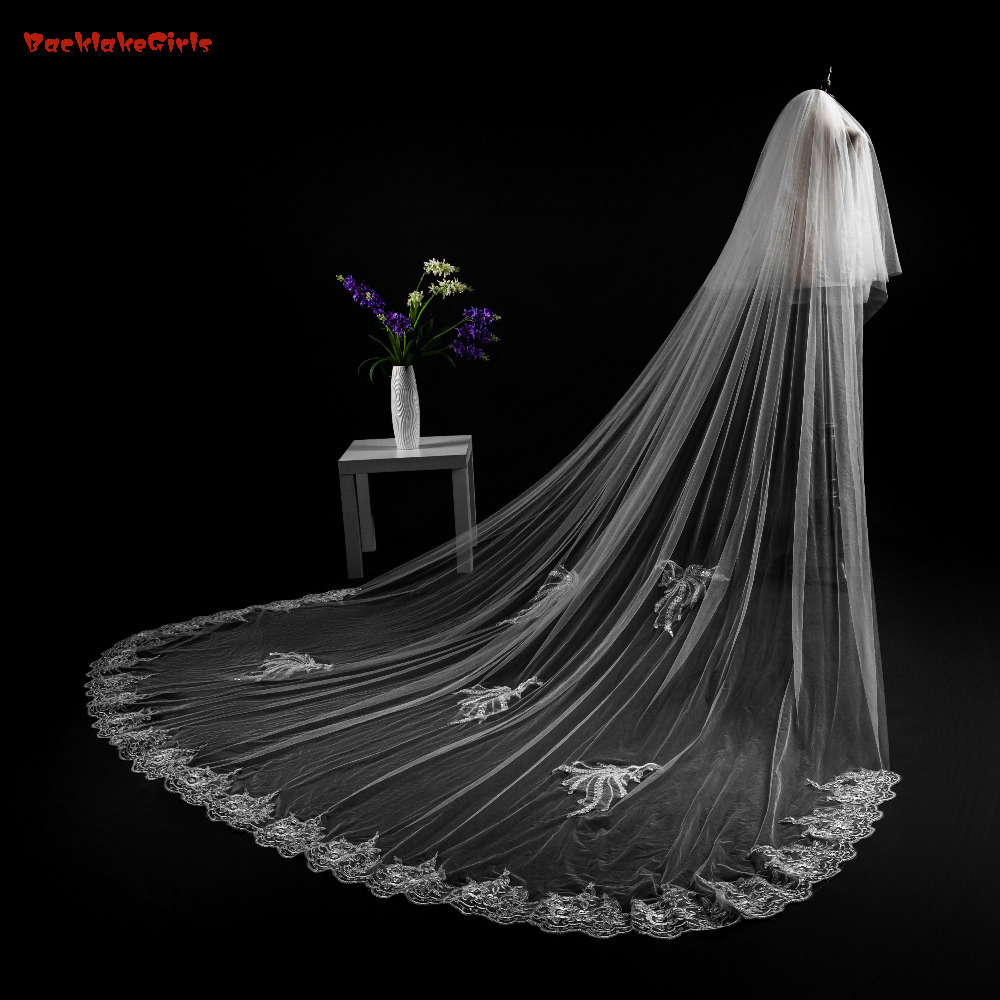 2018 New Arrival High Qua Lace With Appliques One Layer 3*4 Meters Wedding Veil Cut Edge Weddings Accessories Voile De Mariage