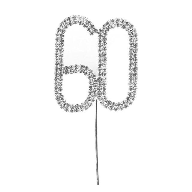Rhinstone Decor Cake Topper For 18th 50th 60th Birthday Happy Party Supplies