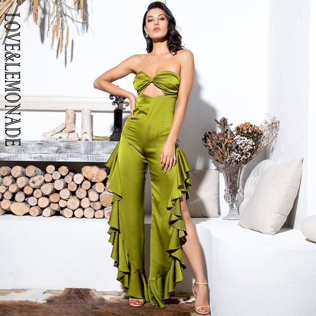$ US $32.18 LOVE&LEMONADE Sexy Green Tube Top Cut Out Side Slit Ruffled Jumpsuit LM81772
