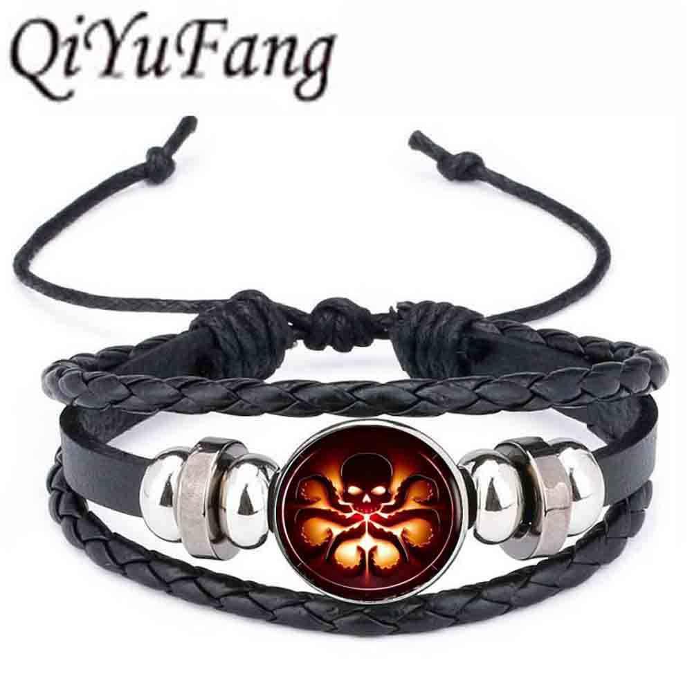 Qiyufan cthulhu r'lyey sigil 가죽 팔찌 h.p 에서 영감을 얻었습니다. Lovecraft 쥬얼리 블랙 멀티 레이어 매력 팔찌 여성 남성