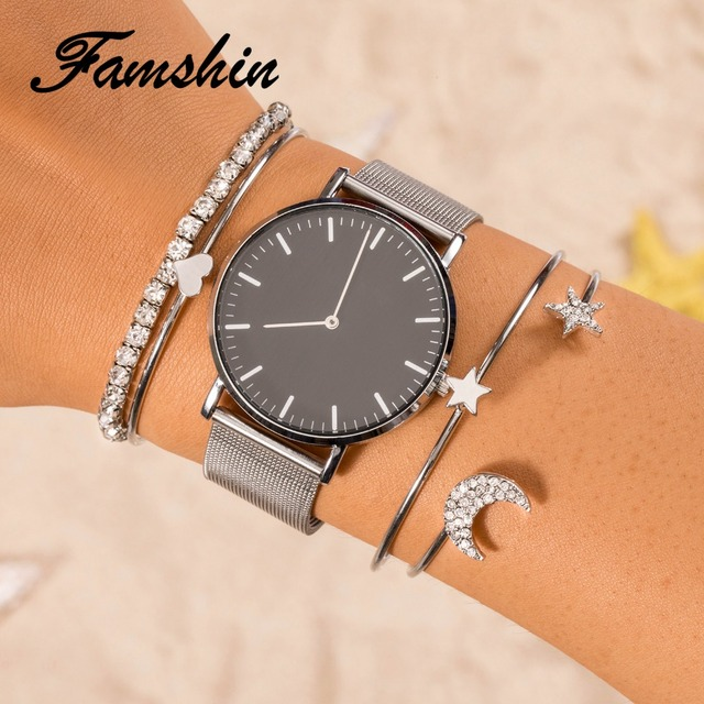 FAMSHIN Fashion 4Pcs/Set high quality gold silver Simple Crystal star Moon Cuff Open Bangles For Women Indian Costume Jewellery