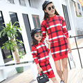 2016 Stripped Mother Daughter Matching Dress Fashion Wool Family Matching Outfits Autumn Skirts Sets For Ladies And Girl Sweater