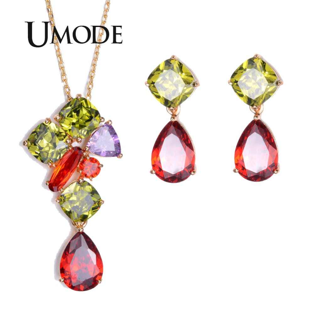 UMODE Gold-Color Jewelry Set for Fashion Woman Including Cubic Zriconia Earrings & Chain Pendant Necklace US0015