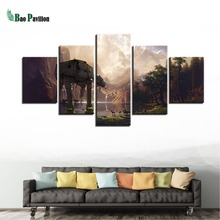Modern Home Decor 5 Panel Movie Star Wars Framed Abstract Canvas Print Painting Wall Art For Living Room Modular Picture