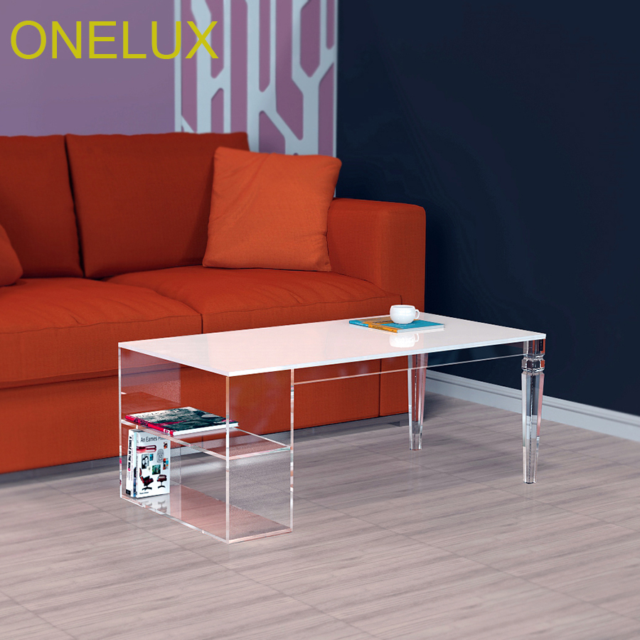 Tapered Acrylic  Storage Coffee Table,Lucite Magazine Tables -100W50D40H CM one lux waterfall acrylic lucite lounge sofa table plexiglass waiting room magazine side coffee corner tables