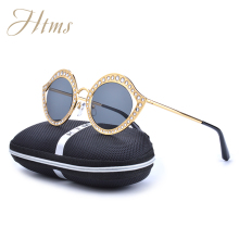 2017 HTMS Small Metal Round Fashion Diamond Sunglasses Women Rose Pink Gold Frame Sun Glasses Oculos De Sol Feminino Gold Flat