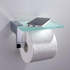 Хромированный держатель для туалетной бумаги Роскошный настенный латунный висячий декор Ролл-стойка с стеклянным держателем для ванной ко...