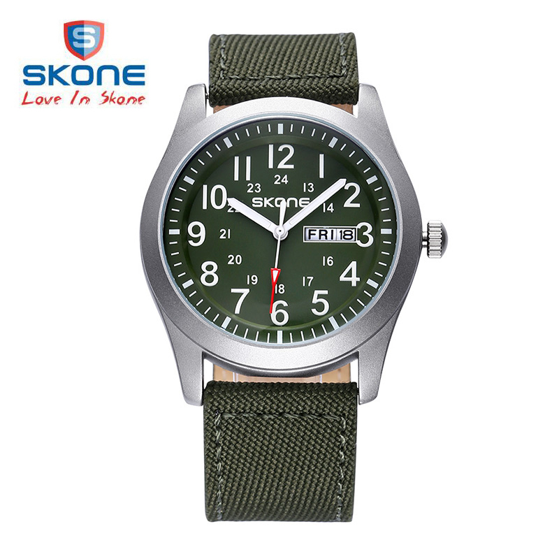 SKONE Male Classic Canvas PU Strap Watches Men Date Waterproof Casual Army Military Watch Analog Quartz Wristwatches Man 2017 stylish metal frame rectangle mirrored sunglasses for women