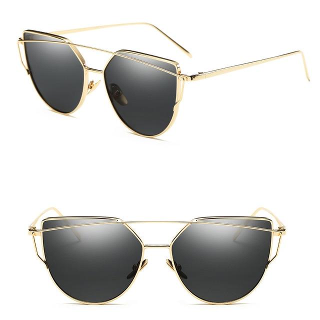 SIMPLESHOW Cat Eye Sunglasses Women Brand Fashion Rose Gold Mirror Sun Glasses Unique Flat Ladies Sunglasses oculos UV400 4