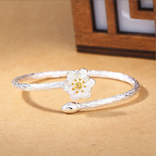 New Fashion Exquisite Creative 925 Sterling Silver Jewelry Bracelets Edition Featured Lotus Flower Bangles