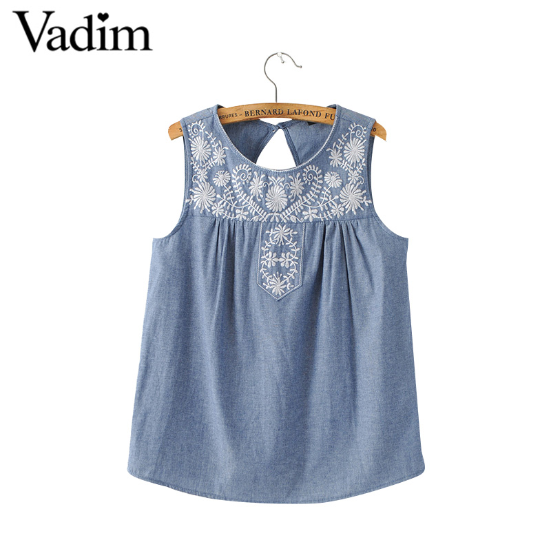 HTB1JvYJPVXXXXaNXXXXq6xXFXXXH - Women elegant embroidery sleeveless denim shirts back