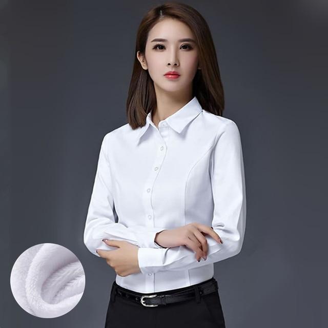 S-5XL Office Women's Work Shirt Winter 2017 Formal Business White Shirt Plus velvet Thicker Warm Slim Career Tops Female