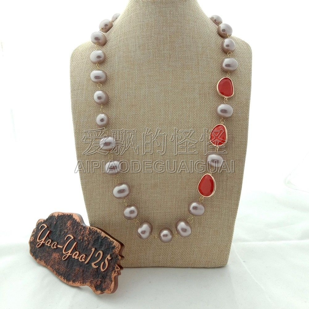 N073008 28 Purple Sea Shell Pearl Red Crystal NecklaceN073008 28 Purple Sea Shell Pearl Red Crystal Necklace