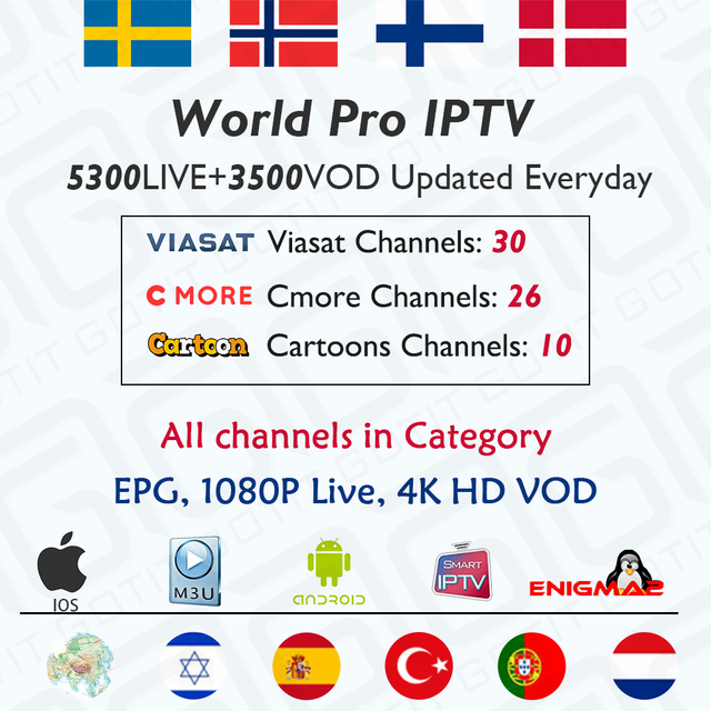Best GOTiT IPTV Subscription for Sweden Norway Finland Denmark Nordic Scandinavia Israel IPTV For Enigma2 Smart TV Android M3U