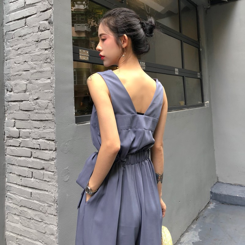 HziriP Sexy Jumpsuit Women Romper 2018 Summer Loose Solid Elegant Party Square Neck Sexy Playsuits Sleeveless Long Pant Overalls 2