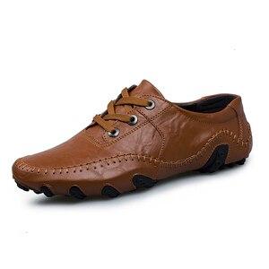 Image 4 - موضة النمط البريطاني الرجال حذاء كاجوال المتسكعون جلد أصلي للرجال أحذية في الهواء الطلق أحذية من الجلد الرجال أحذية الشتاء zapatos hombre
