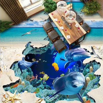 Customized Any Size 3D Mural Ocean Dolphin Starfish Living Room Bathroom Self-adhesive Waterproof Floor Vinyl Wallpaper Roll customized 3d wallpaper 3d floor painting wallpaper flame 3d bathroom floor tile in a sitting room 3d living room photo wallpaer