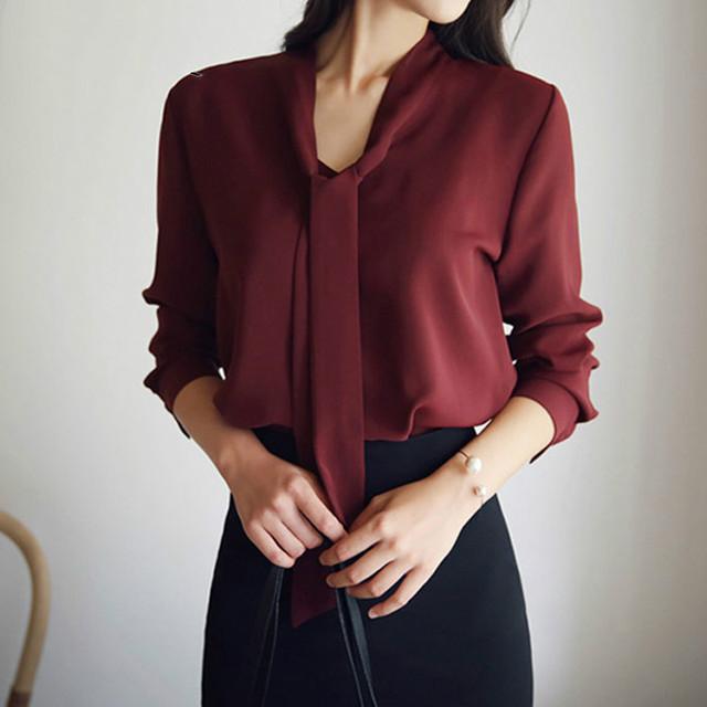 long-sleeved bow tie shirt 2018 autumn and winter new fashion women clothing  loose chiffon shirt women's blouse tops 699C  30