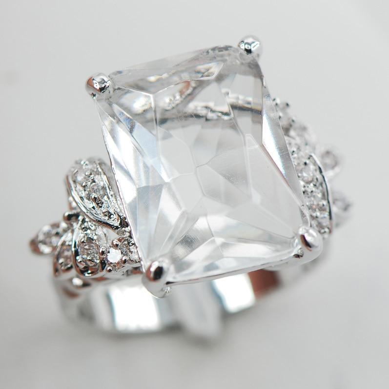 White Crystal Zircon White Crystal ZirconWomen 925 Sterling Silver Ring F907 Size 6 7 8 9