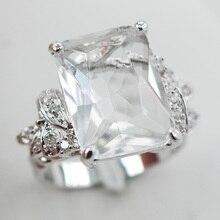 Blanco Crystal Zircon Cristal Blanco F907 ZirconWomen 925 Anillo de Plata Tamaño 6 7 8 9 10