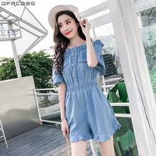 9d61d7dfe53e Sexy Off Shoulder Jumpsuit Short Slash Neck Denim Overalls Women Strapless  Ruffles Playsuit Wide Leg Elastic
