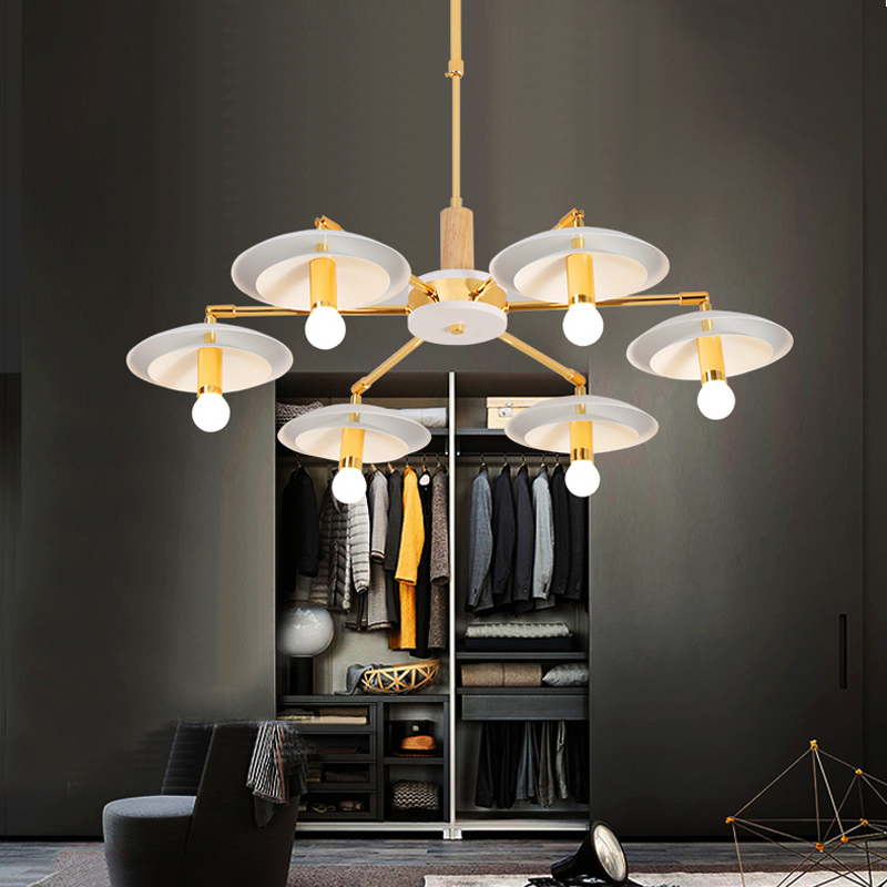 Wood Chandeliers For Dining Room: LED Modern Chandelier Lighting Wood For Dining Room Lights