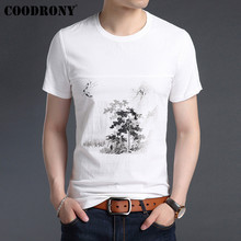 COODRONY 2019 Summer Chinese Style Painting T Shirt Men Soft Cotton Linen Short Sleeve T-Shirt Men O-Neck Tee Shirt Homme S95030