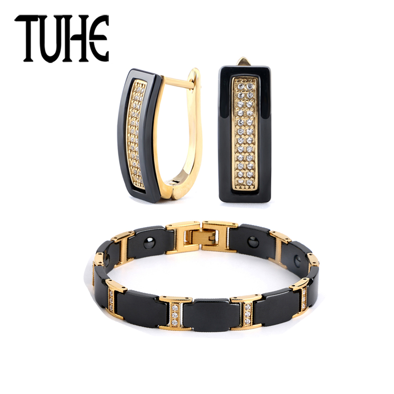 TUHE Fashion Black Ceramic Jewelry Set Luxury Women Bracelet Earrings Crystal Shining Rhinestone Gold Color Set For Women Gifts rhinestone embellished metal bracelet set
