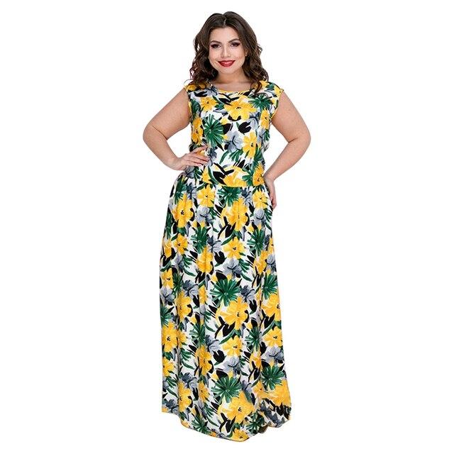 בוהמיה קיץ שמלת נשים מקסי שמלה פרחוני מודפס ארוך חוף שמלה בתוספת גודל שרוולים Boho המפלגה שמלת Robe לונג 5XL 6XL