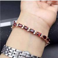 Гранатовый браслет цепи Бесплатная доставка натуральным Красный Гранат 925 Серебро Роскошные браслеты Gem Размеры 5*7 мм 15 шт.
