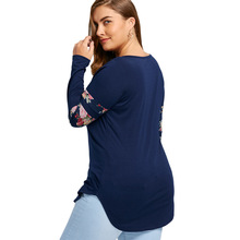 Plus Size 5XL Floral Dolphin Print Loose T-Shirt Women Autumn Casual Long Sleeve Blue Female Long Tee Big Size