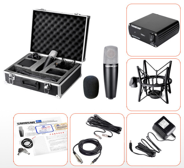 Attento Takstar Sm-5b Professionale Studio Recording Microfono A Condensatore Con Cavo Audio 48 V Potenza Valigia Di Alta Qualità Audio Mic Vendita Calda Di Prodotti