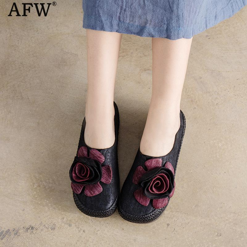 AFW Women Leather Flats Flower Low Heel Casual Leather Shoes Slip On Spring Handmade Genuine Leather Loafer Women Retro Moccasin women bright leather flats round toe shallow chaussure soft sole ladies shoes low heel spring casual loafer shoe slip on flats