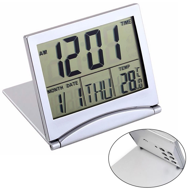 Mayitr Folding LCD Mini Travel Alarm Clock Weather Station Desk Temperature digital Clock Alarm for Home Travel Supplies