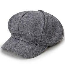 Vintage Felt Octagonal Hat New Winter Women Hats Newsboy Cap Black Color Literary Female Snapback Leisure Accessories