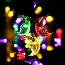 6m 30 LED Moon Solar String Lights Outdoor Fairy Light String for Christmas Home Wedding Party Bedroom Birthday Decoration все цены