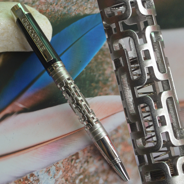 Ballpoint Pens Noble Jinhao Old Grey Two Dragon Play Pearl Roller Ball Pen Pagoda