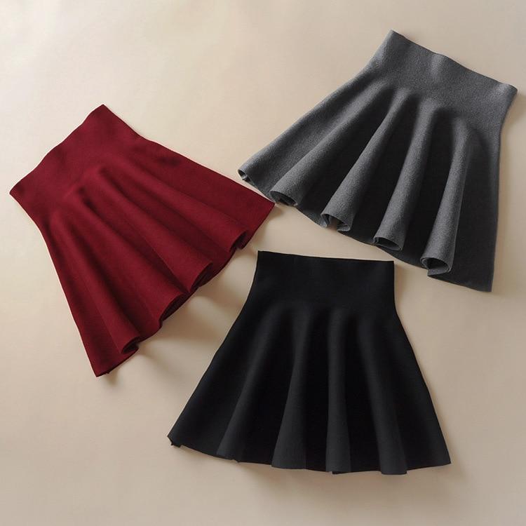 Weyes & Kelf Winter Houndstooth Red Black Gray Plaited Skirts Womens 2017 New Waist High Waist Bag Hip Knitted Mini Skirts