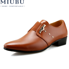 MIUBU 2019 Men Formal Shoes Mens Slip-On PU Leather Brown Black Elastic Band Dress Office Party Wedding