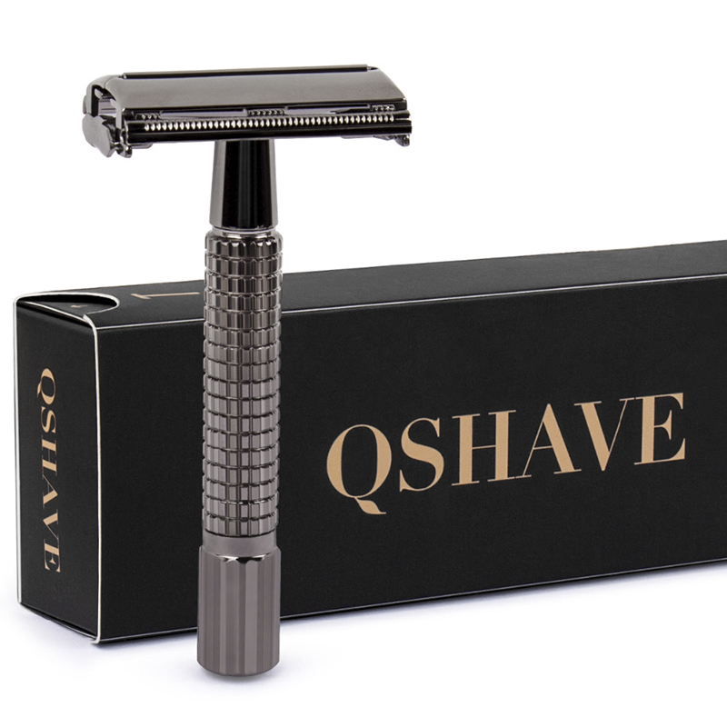 QSHAVE 8.7cm Short Handle Classic Safety Razor With 5 Blades As Gift Gunblack Epilator Weishi Straight Razor Hair Removal