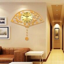 JJT modern pendulum clock minimalist creative living room wall clocks quiet bedroom fanning watch  67*74cm