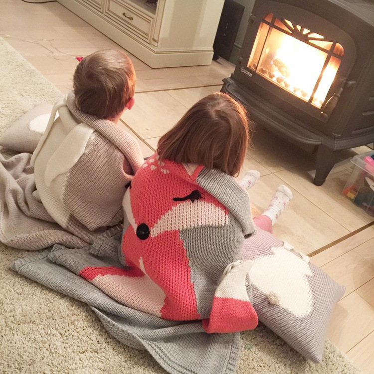 Кондиционер одеяло кролик лиса вязаный ребенок мультфильм животных одеяло диван коляска Чехлы для детей новорожденных постельные принадлежности пеленать decke