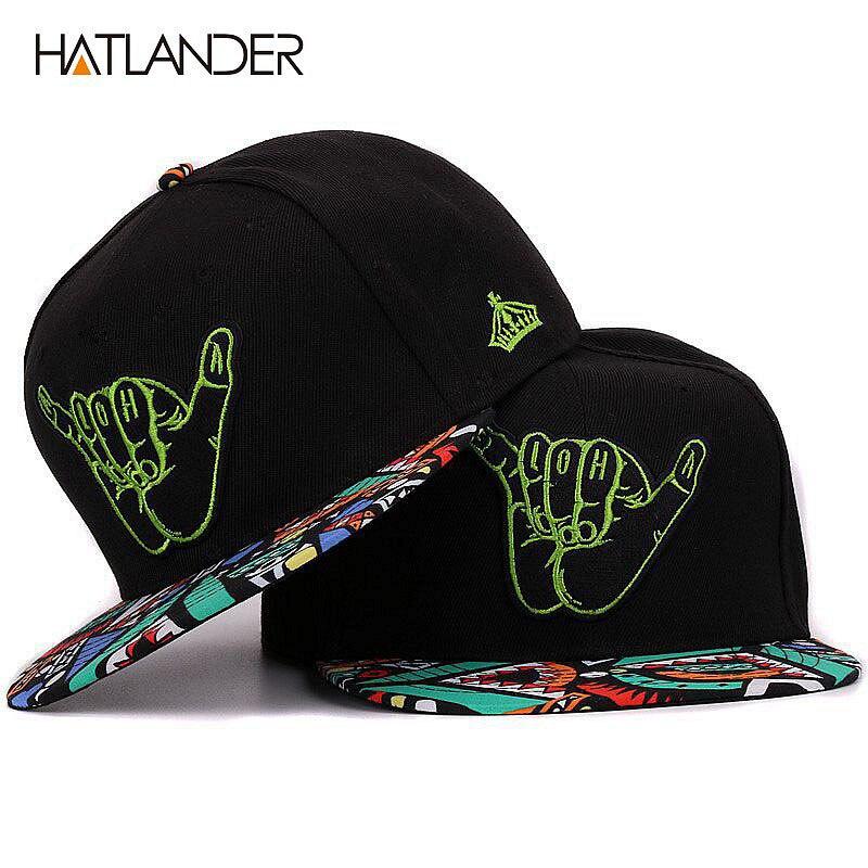 Prix pour Hatlander broderie main noir casquettes de baseball plat bord bboy gorras sport chapeau hip hop 6 panneau snapback réglable casquettes et chapeaux